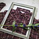 check frill blouse