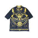 HERMES / Silk Scarf Pattern S/S Polo Shirt (navy:L) (spice)
