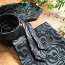 Oguri Original ネクタイ&ポケットチーフ 唐草 ブラック×グレー