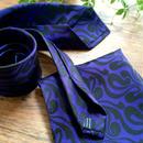 Oguri Original ネクタイ&ポケットチーフ 唐草 ブラック×紫