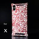 iPhone X アルミ削り出しケース【アラベスク 】RED 竹下さんmodel【送料無料 税込】