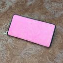 印伝 長財布 ラウンドファスナー【ペイズリー】ピンク革×白漆【送料・消費税込み】