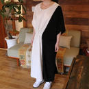 SIDE GATHER DRESS black/white