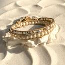 キュービックジルコニア輝く、白珊瑚、パイライト、 淡水パール、リバーストーンのごちゃまぜ2連ブレスレット