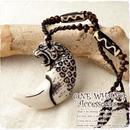 虎ストーンネックレス【a912】チーターメンズ夏人気!大きめペンダントトップにヒョウ・トラがホワイト石手彫りされています。エスニックファッションの必須アイテム!アジアン雑貨
