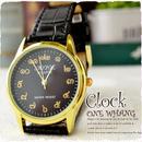 タイ文字腕時計【sak02】タイ文字ロゴがおしゃれアナログ時計レザーバンド 色はゴールドブラックでカジュアル個性的すこしハデ黒!メンズレディース兼用エスニックファッション