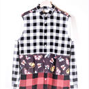 DANIELE ALESSANDRINI CHECK AND BUTTERFLIES SHIRT(MULTI)