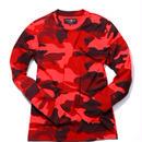 HYDROGEN CAMO SKULL T-SHIRT LS(RED)