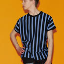 SHAREEF STRIPE CREW-NECK BIG-T(Blue×Black)