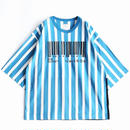 "SHAREEF ""BARCORD""EMB.STRIPE BIG-T(Turquoise×White)"