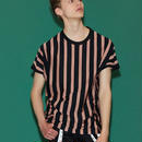 SHAREEF STRIPE CREW-NECK BIG-T(Mokha Pink×Black)