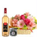 ワイン チョコレートとお花のギフト フランスの高級ブランド 「マキシム・ド・パリ」のボルドー 白ワイン やや甘口 375ml 貴腐ワイン漬けレーズンチョコレート フラワーアレンジメント付き