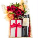 南フランスワイン、お菓子とお花のギフトセット オーガニック赤ワイン 750ml フラワーアレンジメント バラ カーネーション 焼き菓子 詰め合わせ フィナンシェ マドレーヌ 誕生日 記念日