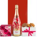 お花とシャンパン、スイーツ詰め合わせギフト ピンクのバラのプリザーブド フラワーボックス 焼き菓子詰合せ フランス「マキシム・ド・パリ」の高級シャンパン