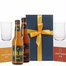 ビールとペアグラス 飲み比べセットフランス 地ビール 2本 アンバー ブロンド ビール用グラス 2個 輸入ビール  330ml 琥珀色 クラフトビール タンブラー 箱入り リボン包装