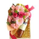 バラ フラワーギフト ロゼワインとお花のギフト 南フランス サン・シニアンのロゼワインとフレッシュなピンク色のフラワーアレンジメント