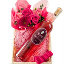 ロゼワインとお花のギフトセット フランス ボルドー 750ml 辛口 飲みやすい 生花 アレンジメント バラ カーネーション ガーベラ