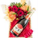 フラワーアレンジメント  赤いバラとカーネション フラワーバスケット フランス「マキシム・ド・パリ」 オリジナル・シャンパン 結婚祝い 誕生日
