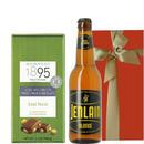 ホワイトデーのお返しに!飲みきりサイズのフランスのクラフトビール330ml と、ヘーゼルナッツが香ばしいドイツのミルクチョコ