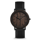The Minimalist - Ebony/Matte Black/Black Leather Band/Wood Dial