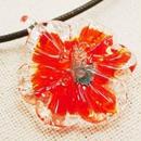 【ガラス工房Lamb】NEWフラワーペンダント(大) オレンジ L4-0169