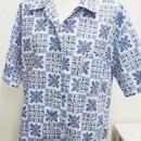 【ああ】アロハシャツ 紺ハワイアン P17-0839