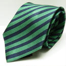【カジュアルスタイルに◎】H&M|光沢感のあるグリーンストライプ・ナローネクタイ|シルク100%|USED|Y38144