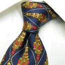 さすが高級ブランドの存在感◎【Chrstian Dior MONSIEUR】イタリア製 ネイビー&ゴールド総柄ネクタイ 紺金系 USED 171103