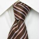 ブラウン系スーツに◎|TIE COLLECTION|アラ商事|3色ストライプネクタイ【USED】【茶系】0219