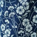 【浴衣】紺色なでしこ柄竺仙の綿絽浴衣
