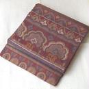 【ふくろ帯】臙脂色系オリエンタル抽象文の洒落袋帯