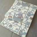 【ふくろ帯】生成り紬地 鳥に花唐草文 洒落袋帯