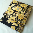 【ふくろ帯】となみ織物謹製 純金×プラチナ箔 黒地にゴールドカラー 更紗文