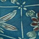 【単衣・アウトレット】 灰藍色 ロウケツ調 植物菱 小紋