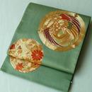 【ふくろ帯】柳色地 鳳凰草花 贅沢金駒刺繍 丸文