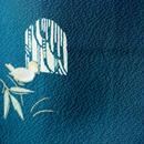 HOLD中・【袷】納戸色系 窓に小鳥 飛び柄小紋