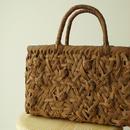 【籠】柿渋染めうち袋付き、変わり編み・やまぶどう籠