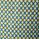 【袷】生成り地 菱形つなぎ柄 小紋