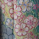 【お振袖】グリーン系、総絞り花モチーフの振袖三点セット