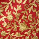 【ストール】カシミール刺繍 カーマイン