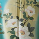 【袷】翡翠色に白椿と季節の花々の訪問着