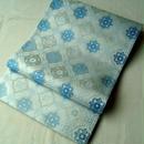 【ふくろ帯】生成り・水色・ブルー 菱に華文 袋帯