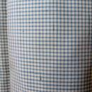 【袷】トールサイズ ライトブルー細かな格子の紬