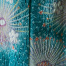 【浴衣】ターコイズグリーンの大輪の花絞り柄浴衣
