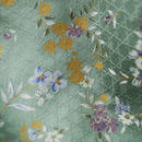 【単衣】若竹色・金、白、紫の小花紋小紋