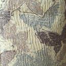 【袷】グレイッシュラベンダー系 絞りと蝶柄小紋