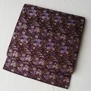 【ふくろ帯】滅紫(けしむらさき)系草花文のふくろ帯