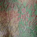 【コート】洒落柿色×薄萌葱色 市松に草花織り紋 道行