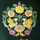 【夏・絽】Blackにイタリアンカラーの刺繍花輪文 たて絽 附下