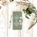 【pajour 】 マット カーキ オルテガ柄 手帳型 スマホケース【iPhone】【手帳】【レトロ】